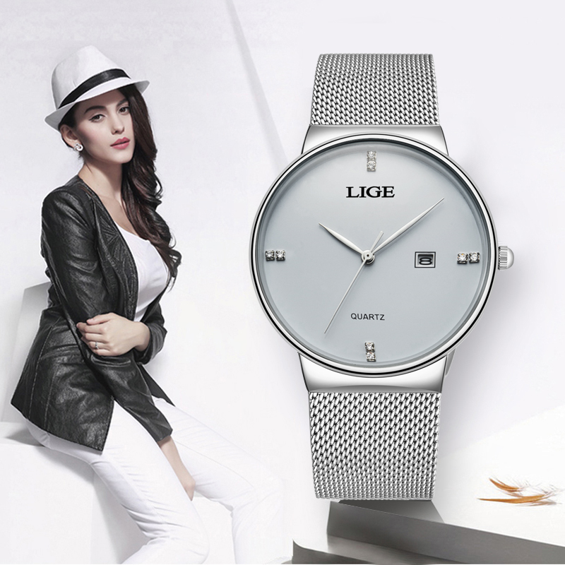 2020 LIGE Women Watch Rose Gold Black Quartz Watch Lady Casual Waterproof Simple Ladies Watch Womens Wristwatch Relogio Feminino