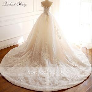 Image 2 - Lceland Poppy Luxury Off the Shoulder A line Wedding Dresses 2020 Sleeveless Vestido de Novia Beaded Bridal Gowns with Flowers