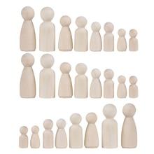 36Pcs Houten Peg Mensen Ongeverfd Hout Poppen Set Poppen Kids Diy Speelgoed Arts Ambachten Decor, 35 Mm, 43 Mm, 55 Mm, 65 Mm, 2 Vormen Gemengde