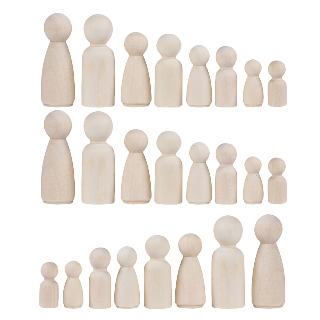 36Pcs Wooden Peg People Unpainted Wood Dolls Set Dolls Kids DIY Toy Arts Crafts Decor, 35mm, 43MM, 55MM, 65MM, 2 Shapes MixedWood DIY Crafts   -