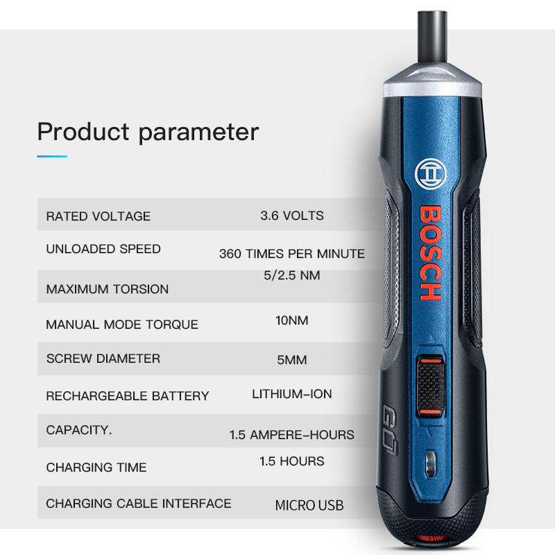 Bosch Go 6 Modes Adjustable Torques Screwdriver Tool Kits ,Rechargeable 3.6V Smart Cordless Screwdriver Mini Power Tool
