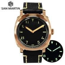 San Martin VINTAGE Bronze DIVER นาฬิกา Sapphire ดูผ่านกลับผู้ชายนาฬิกาหนังกันน้ำส่องสว่าง