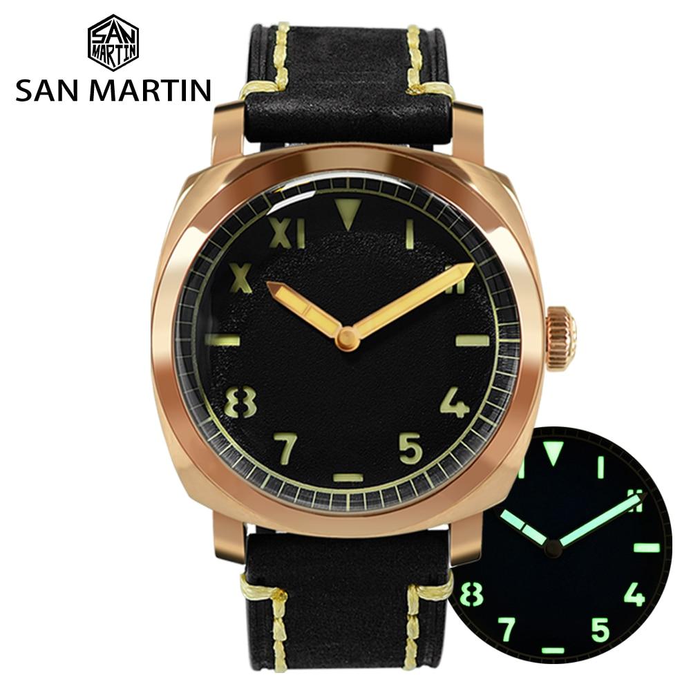 San Martin Vintage Bronze Diver Watch Sapphire See-through Case Back Men Mechanical Watches Leather Strap Waterproof Luminous