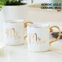 Caneca requintada cerâmica café presente beber leite copo de cerâmica decoração para casa estilo europeu casais copo sr. e sra.
