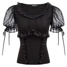 Клубные вечерние женские рубашки летние женские кружевные топы с аппликациями Готическая рубашка в стиле стимпанк винтажные Короткие прозрачные рукава с вырезом лодочкой блузка Ретро