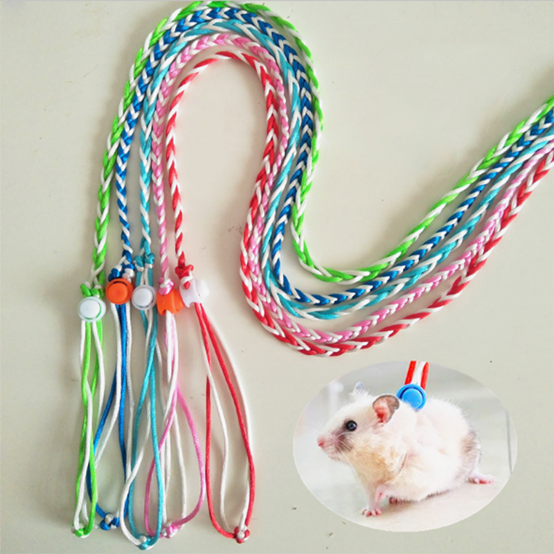 1.4m Rabbit Hamster Harness Leashes Outdoor Leads Adjustable Pet Hamster Leash Harness Rope Gerbil Cotton Rope Harness Lead