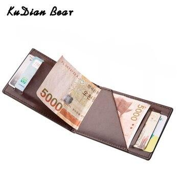 KUDIAN ayı Minimalist erkekler cüzdan Vintage deri portföy cüzdan ve çanta için erkek ince kelepçeleri Carteira Masculina BID235 PM49