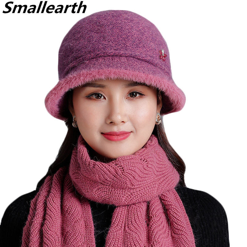 Women Rabbit Fur Hat Scarf Set Mom Lady Casual Knitted Hat Winter Thick Plus Velvet Hat Scarf Set For Women Cap Scarves 2pcs Set