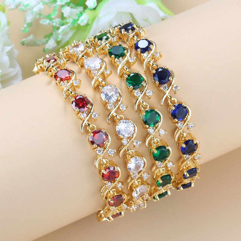 Свадебные аксессуары женские ювелирные изделия AAA + качество 7 цветов камни Африканский Свадебный браслет Бесплатная доставка