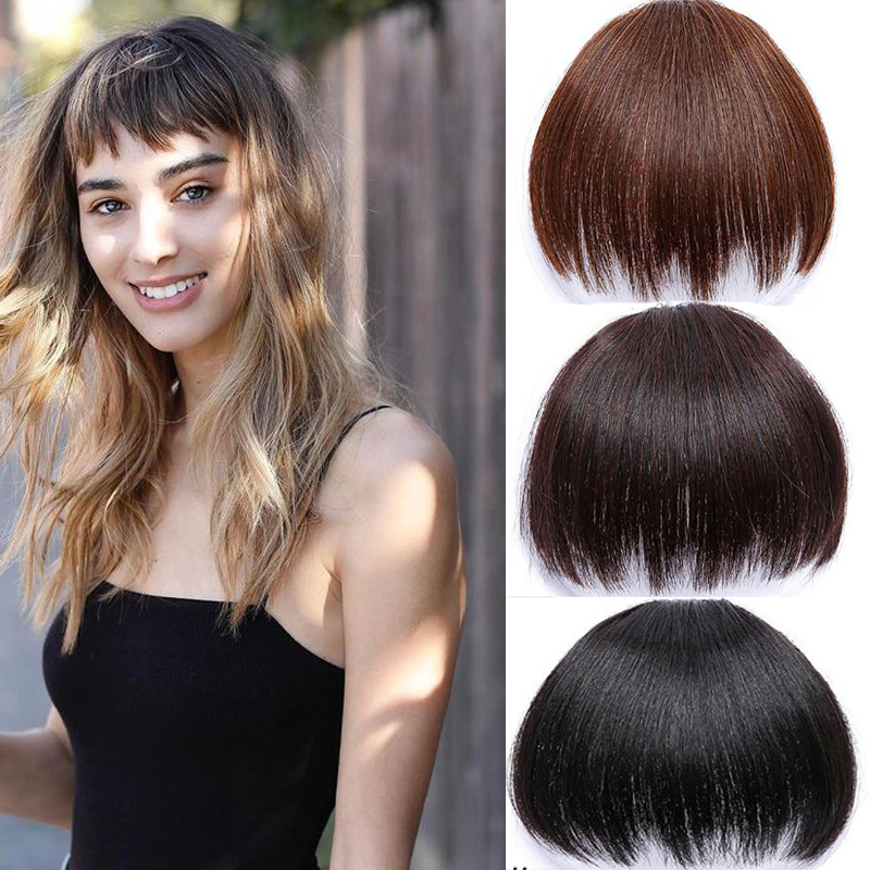 Short Fake Hair Bangs Heat Resistant Synthetic Hairpieces 2 Clip In Hair Extensions For Women Hairstyles Blunt Bangs Headwear