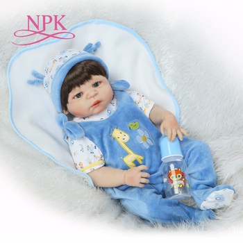 NPK 57CM  full silicone body reborn baby boy dolls soft silicone vinyl real gentle touch bebe new born real baby Gift