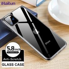 iHaitun Luxury Slim Clear Glass Cases For iPhone 11 Pro MAX XS XR X Phone Soft Edges Cover Case 7plus 8plus 7 8 Plus