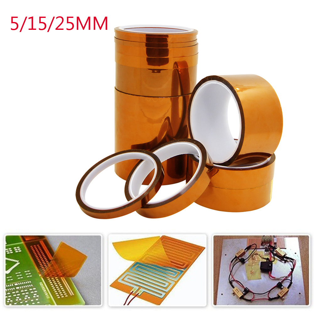 33m 100ft Kapton Adhesive Tape BGA High Temperature Heat Resistant Polyimide Gold For Electronic Industry 5/15/25mm