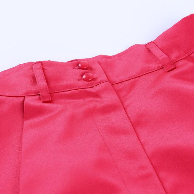 Viifaa Apricot High Waist Pleated Wide Leg Flared Shorts Women Fashion Summer Spring 2020 Ladies Sexy Mini Shorts 6