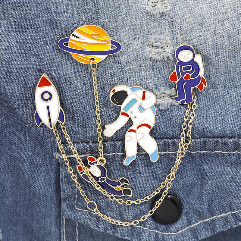 Fashion Baru Astronot Bumi Kelinci Gadis Enamel Animal Planet Bros Lencana Pin Lencana