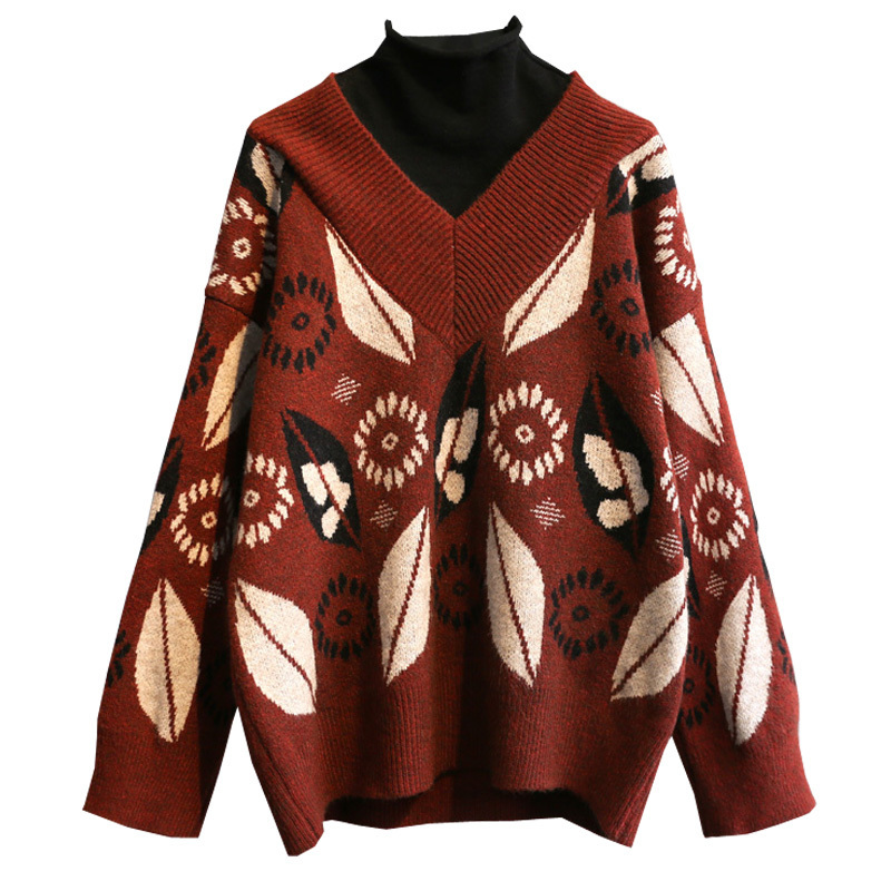 Print Pullovers Leaf Casual Tops Beige Sweaters Turtleneck Patchwork Ladies Sweaters 2020 Spring Warm Female Sweater Women