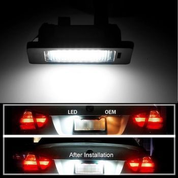 A Pair 24 LED 3528 SMD LED License Plate Lights Lamps Bulbs 6000K Cool White Fit For BMW E82 E90 E92 E93 M3 E39 E60 E70 X5 E7CA image
