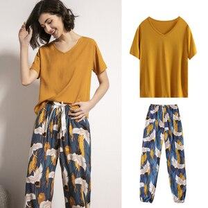 Кимоно в японском стиле Харадзюку, Женский пижамный комплект из 2 предметов, футболка, брюки, летняя одежда для дома, одежда для сна, костюмы ...