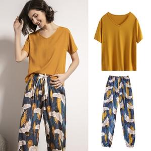 Japanese Style Kimono Harajuku Women's Pajamas Set 2PCs T-shirt Trousers Summer Loungewear Sleepwear Crane American Outfits