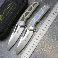 Folding Knife Pocket-Tools M390 Blade Kevin John Titanium-Handle VENOM Outdoor Camping