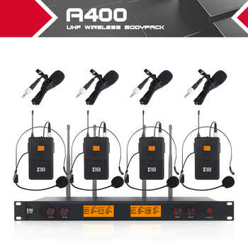 XTUGA A400 Metal Material 4-Channel UHF Wireless Microphone System with 4 Bodypack use for Stage Church Use for Family Party - DISCOUNT ITEM  5 OFF Consumer Electronics
