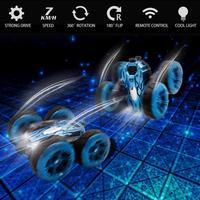 2,4G Wireless RC doppelseitige Stunt-Auto 7KM/H 360 Rotary Vier-rad Stick Hohe speed-Off-road Klettern Auto Modell Mit Kühlen Licht