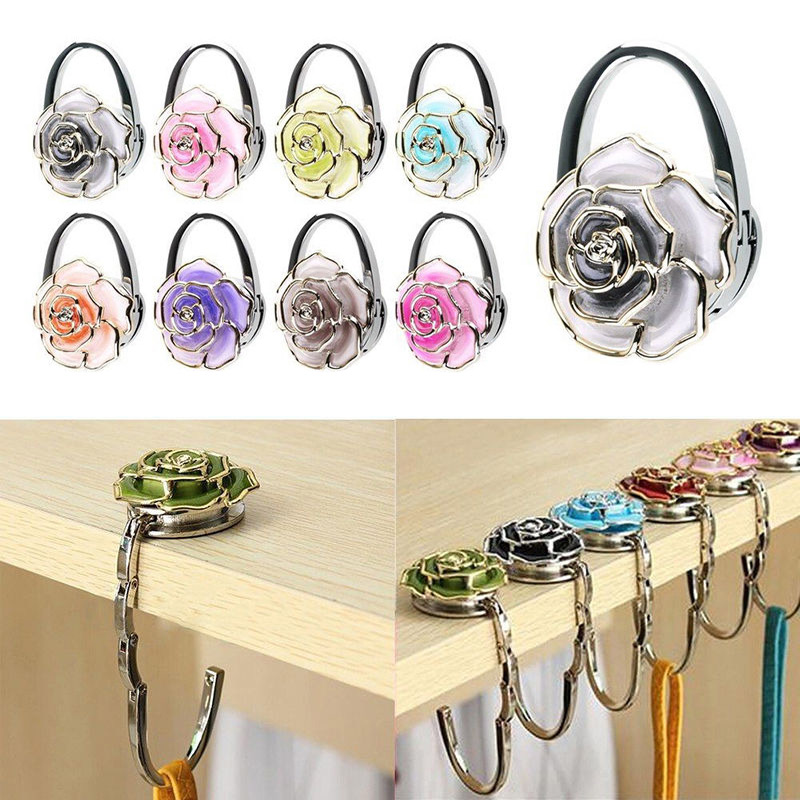 Floding Hanger Hook Tote Bag Rose Rose Portable Hangers Clothing Hooks Flower Shaped