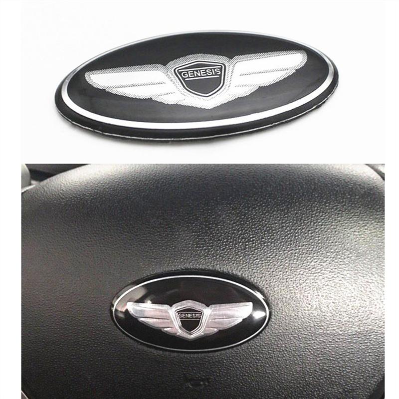 Car Logo Modern Genesis Coupe Wing Car Steering Wheel Emblem Badge Sticker For Hyundai Kia