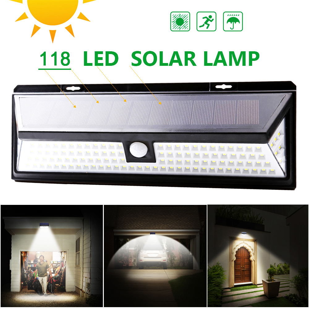 Dozzlor 118 LED Solar Light 3 Modes Motion Sensor Solar Wall Lamp Outdoor Waterproof IP65 Bright Energy Saving Yard Garden Lamps