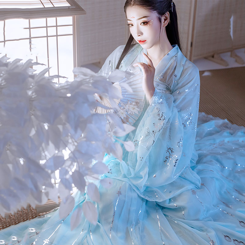 Hanfu Women Traditional Dance Costumes Singers Festival Outfit Folk Rave Performance Clothing Chinese Chiffon Fairy Dress DC3762