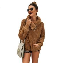 Irregular Turndown Collar Cashmere Zipper Sweatshirt Winter Warm Casual Solid Coat Pullover Sudadera Mujer Ey*