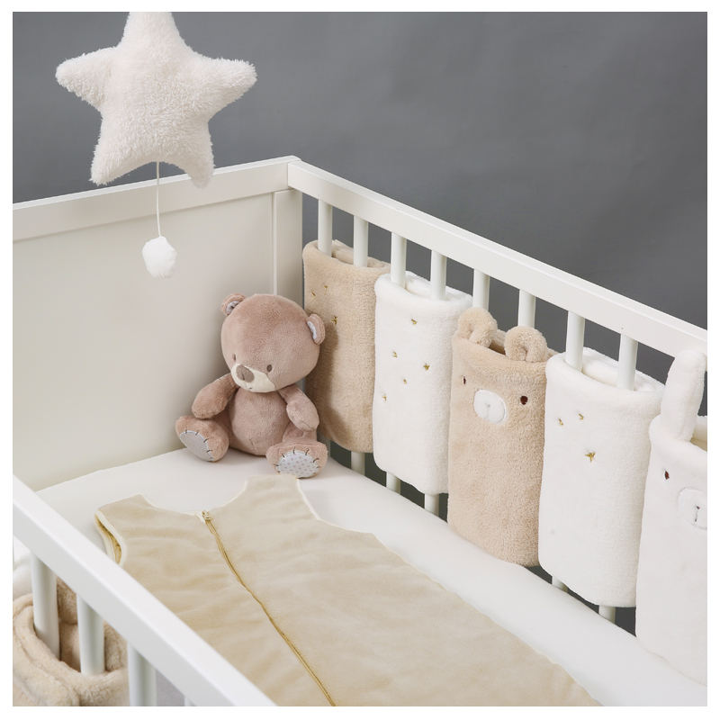 Plush Baby Bed Bumper Baby Bedding Set Accessories Infant Crib Bumpers Chic Cotton Bed Protector Baby Decoration Room Baby Stuff