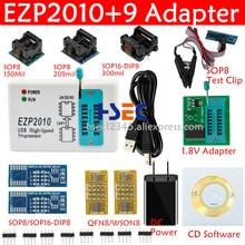 Adaptador de teste universal ezp2013, ezp2019 bios spi eeprom + 9 adaptador sop clipe de teste sopic8 150mil 200mil sop16 1.8 tomada v