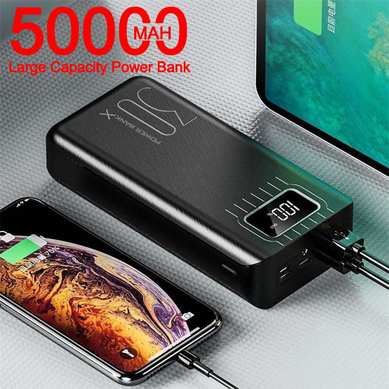 Power Bank 50000mAh Large-Capacity Powerbank Outdoor Travel Charger Phone External Battery LCD Digital Display LED Lighting