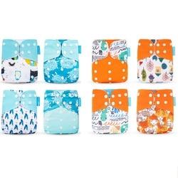 Happyflute gran oferta OS pañal de bolsillo 8 Uds diape + 8 Uds microfibra insertar lavable y reutilizable pañal de bebé ajustable cubierta del pañal