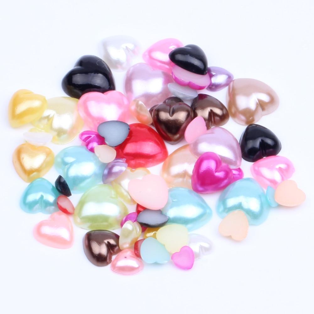 200 4mm Acrylic AB Pearl  Heart Rhinestones  PEACH