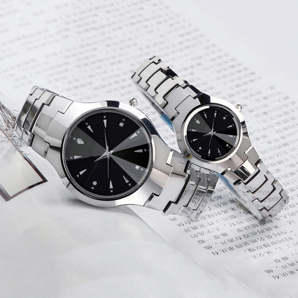 Casual Couple Round Dial Calendar Alloy Linked Strap Analog Quartz Wrist Watch