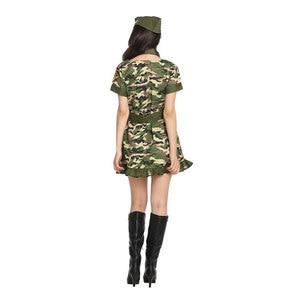 Image 5 - Ładna kobieta żołnierz armia wojownik kostium dla kobiet panieńskie nastoletnie dziewczyny Fantasia Halloween Purim sukienka na karnawał