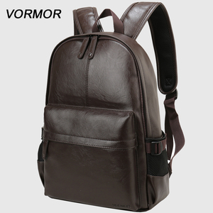Image 1 - 2020 VORMOR Brand waterproof 14 inch laptop backpack men leather backpacks for teenager Men Casual Daypacks mochila male