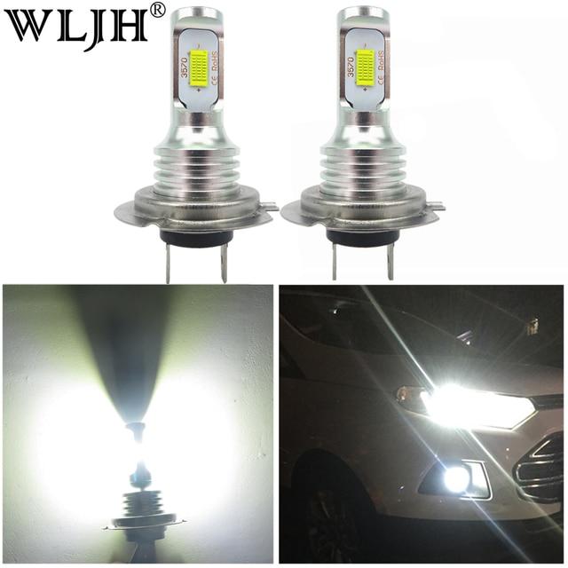 WLJH 2x błąd canbus bezpłatne Led H7 żarówka do lampy przeciwmgielnej silnik samochodu auto ciężarówka jazdy światła do jazdy dziennej H7 LED żarówki 12V 24V dla samochodów