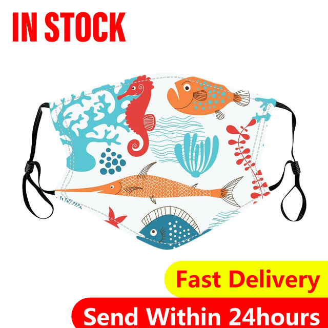 10PCS Kids Face mouth Masks Washable Reusable Face Cover Fashion Printed Ice Silk Mask Breathable Mouth Mask Cover Mascarilla#3 1