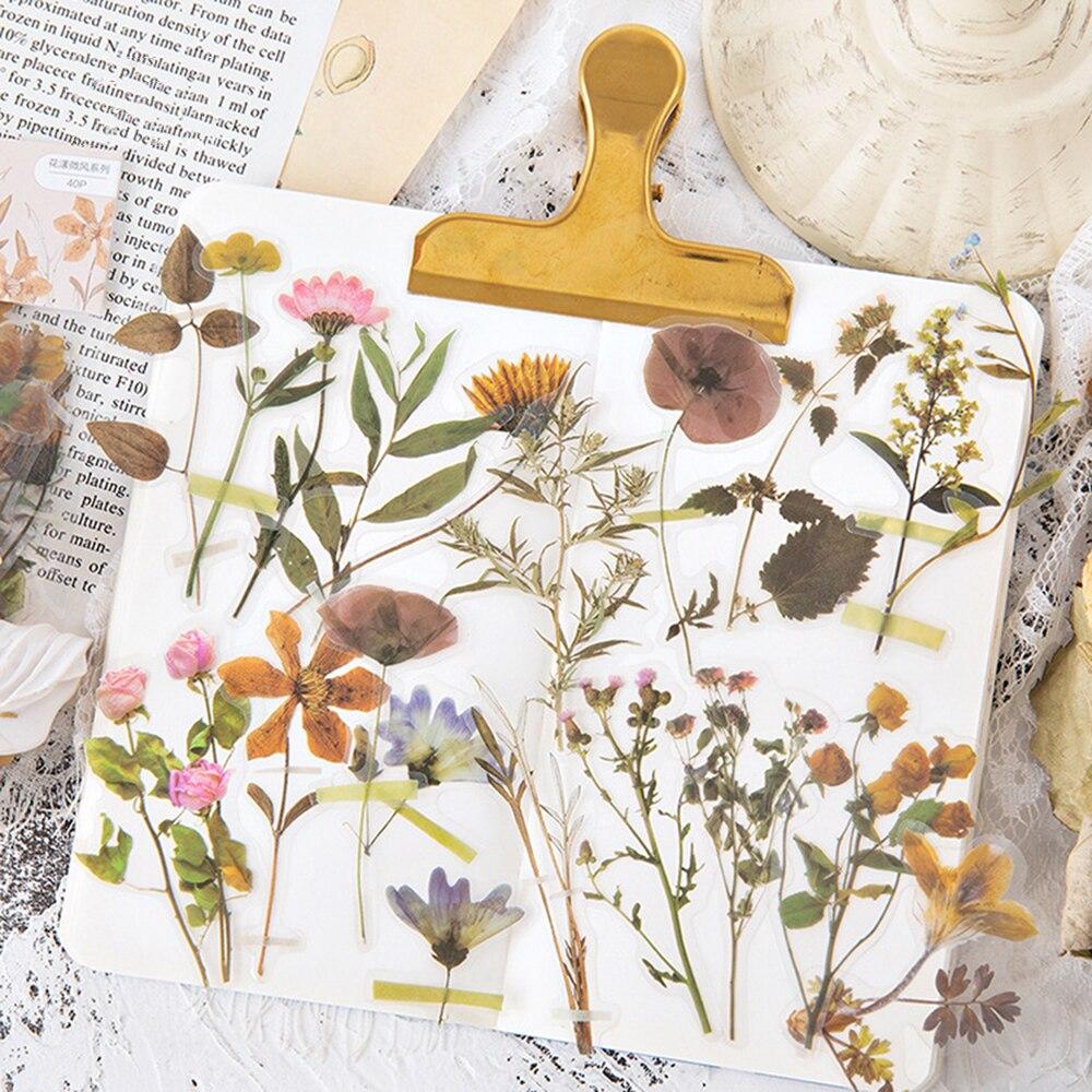 40 Pcs/Lot Beautiful Flowers Plant Decoration Mini Paper PET Sticker DIY Album Diary Scrapbooking Label Kawai