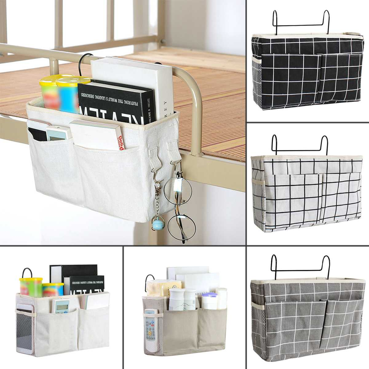 Bedside Storage Organizer Dorm Room Phone Book Magazine Storage Bag Holder With Hook Remote Caddy Bunk Bed Pocket Save Space|Hanging Organizers| |  - title=