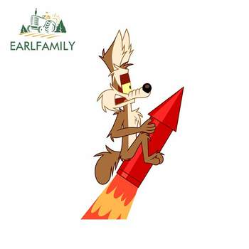 EARLFAMILY 13cm x 7.3cm for Wile E. Coyote Creative Car Sticker Fashion JDM Accessories Anime Decal Suitable for Fold GTR EVO SX image