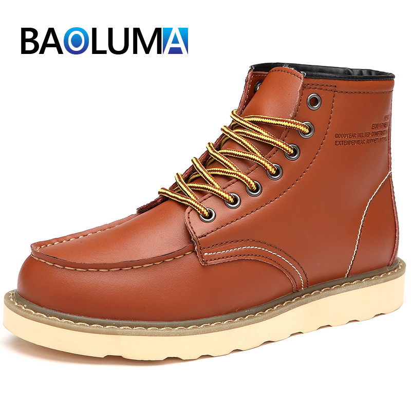 Brand Men Winter Snow Boots Plush Warm Men Motorcycle Boots Vintage Lace-Up Male Ankle Boots Autumn Outdoor Man Casual Shoes