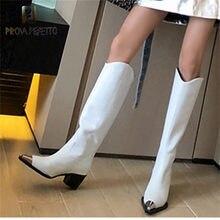Prova perfetto mulher joelho botas altas sapatos quentes metal-decorado apontou toe sexy senhoras saltos altos botas femininas botas mujer