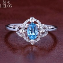 HELON Solid 10K White Gold Flawless Oval 4x6mm Genuine Natural Blue Topaz & Diamond Engagement Wedding Women Trendy Jewelry Ring(China)