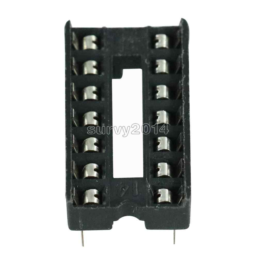 100PCS  X 14pin DIP IC Socket Adaptor Solder Type Socket Pitch Dual Wipe Contact