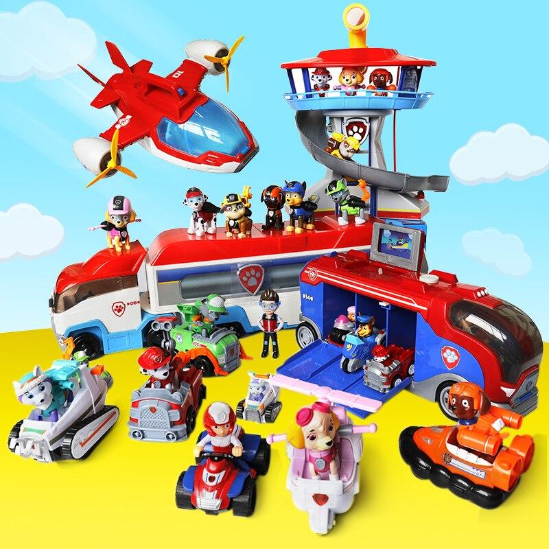 PAW PATROL Spielzeug Sets Ziehen Auto Patrulla Canina Welpen hund Rettungs Team autos Lookout Turm mit musik für kinder weihnachten geschenke