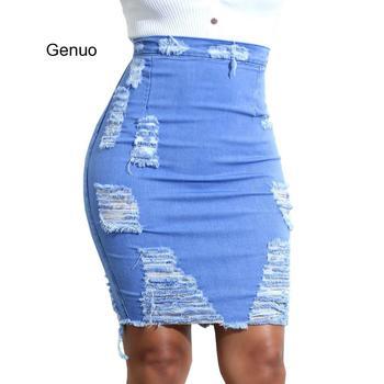 Falda vaquera de verano 2020, cintura alta, con agujeros, Mini pantalón de mezclilla, falda de calle, informal, corte en A, falda de Mujer, Moda para Mujer